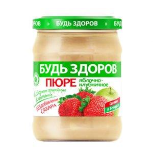 Пюре яблочно-клубничное 450г АВС